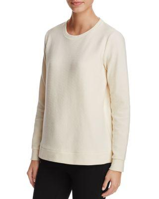 Eileen Fisher Long Sleeve Ribbed-Knit Top In Undyed Natural