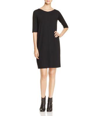 Eileen Fisher Elbow Sleeve Dress In Black