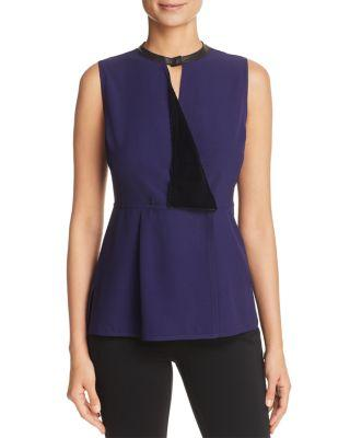 Elie Tahari Bowie Mixed-Media Peplum Tank In Majesty