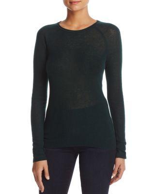 Elie Tahari Carly Lightweight Ribbed Sweater In Dark Clover