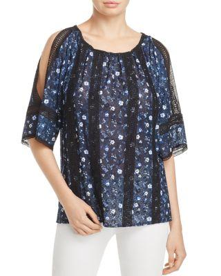 T Tahari Cambria Cold-Shoulder Blouse In True Navy