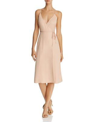 L'Academie The Wrap Midi Slip Dress In Rose
