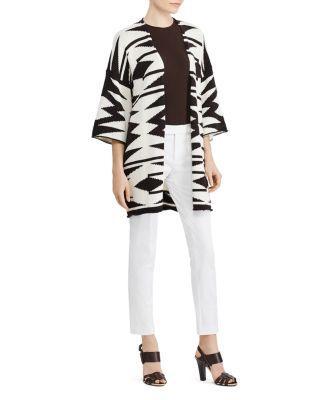 Ralph Lauren Lauren  Geo Print Kimono Cardigan In Herbal Milk/Polo Black