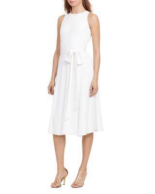Ralph Lauren Lauren  Tie-Waist Dress In Ivory