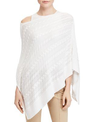 Ralph Lauren Lauren  Cable-Knit Poncho In White