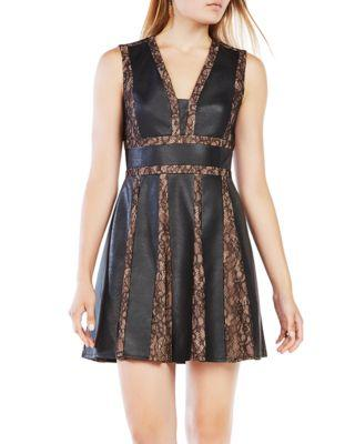 Bcbgmaxazria Val Faux Leather-Blocked Dress In Black