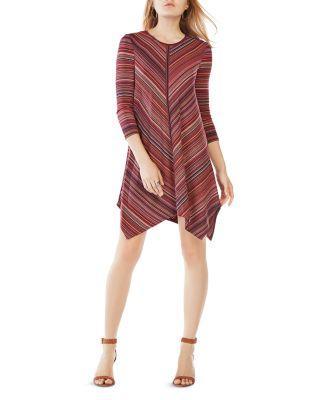 Bcbgmaxazria Carmela Striped Jersey Dress In Port/Black/Multi