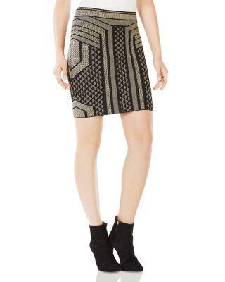Bcbgmaxazria Josa Metallic Graphic Mini Skirt In Black Combo