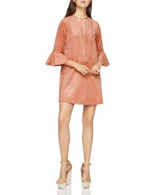 Bcbgmaxazria Faux Suede Mini Dress In Rose Dawn