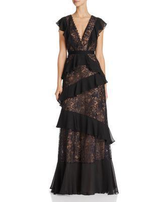 Bcbgmaxazria Ruffle Lace Gown In Black
