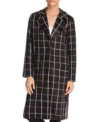Michael Stars Plaid Coating Long Sleeve High Slit Coat In Black