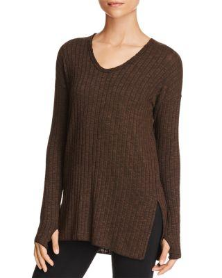 Michael Stars V-Neck Ribbed Tunic In Loden