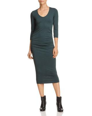 Michael Stars Ruched Midi Dress In Forest
