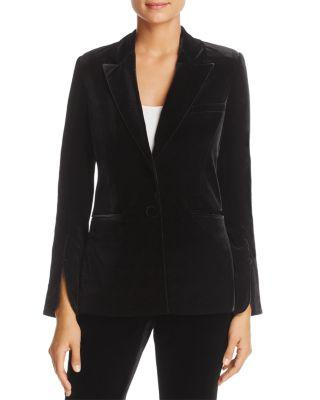 Badgley Mischka Velvet Slit Cuff Blazer In Black
