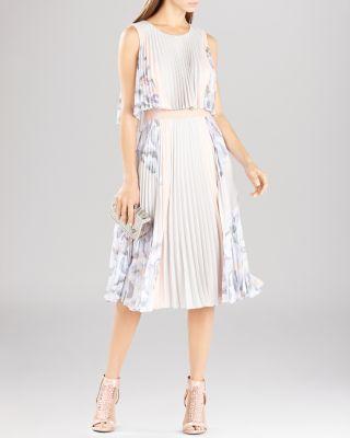 Bcbgmaxazria Dress - Jaelyn Printed Pleated In Light Dove Combo
