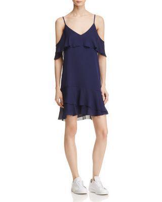 Parker Thatcher Cold Shoulder Ruffled Silk Dress In Aquarius