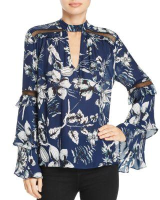 Parker Court Choker-Neck Tiered-Sleeve Silk Top In Blue Rooted