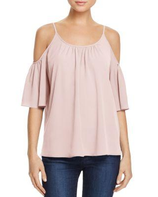 French Connection Polly Plains Cold-Shoulder Top In Capri Blush