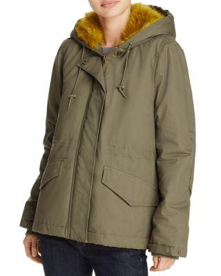 French Connection Syble Faux-Fur Trimmed Coat In Dusty Olive/Willow