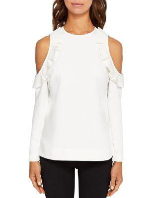 Ted Baker Steffe Ruffled Cold-Shoulder Top In Ivory