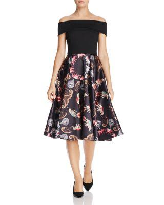 Ted Baker Dulcci Printed Off-The-Shoulder Dress 100% Exclusive In Black