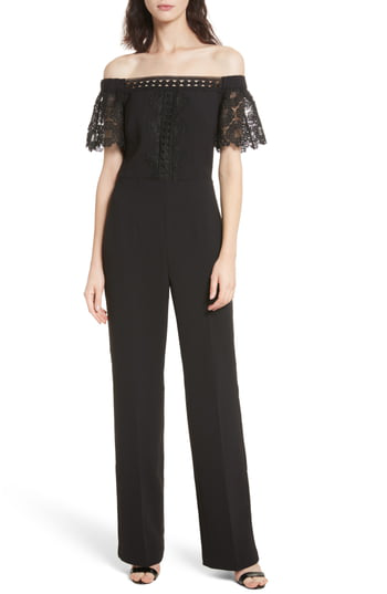 Ted Baker Loreena Off-The-Shoulder Geo Lace Jumpsuit In Black