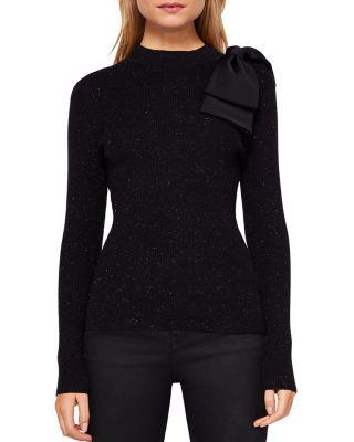 Ted Baker Gabiell Bow-Detail Sparkle Knit Sweater In Black