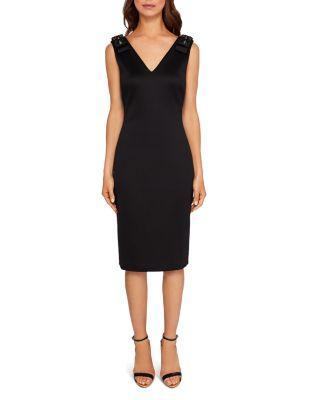Ted Baker Belliah Bow-Shoulder Body-Con Dress In Black