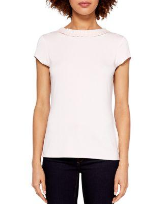 Ted Baker Jeeana Frill-Neck Tee In Nude Pink