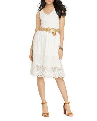 Ralph Lauren Lauren  Petites Lace Hem Dress In White