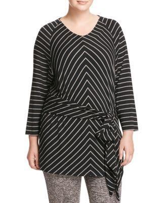 Marina Rinaldi Vanda Striped Jersey Tunic In Black