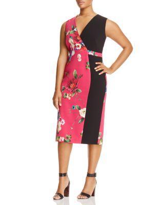 Marina Rinaldi Damiere Floral Blocked Sheath Dress In Fuchsia