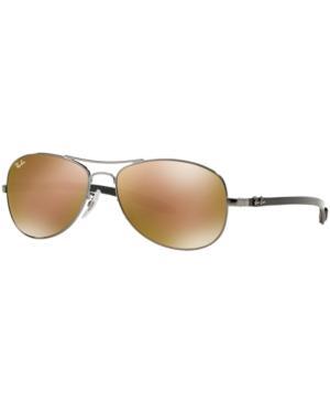 Ray Ban Ray-Ban Polarized Sunglasses, Rb8301 59 Carbon Fibre In Gunmetal/Brown Mirror Polar