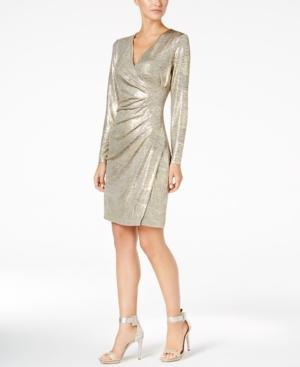 Calvin Klein Metallic Faux-Wrap Dress, Regular & Petite Sizes, Created For Macy's In Gold