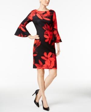 Calvin Klein Bell-Sleeve Sheath Dress, Regular & Petite Sizes In Red/Black