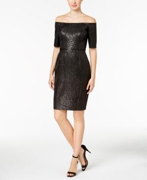 Calvin Klein Off-The-Shoulder Jacquard Sheath Dress In Black