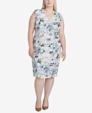 Calvin Klein Plus Size Ruffled Sheath Dress In Latte Multi