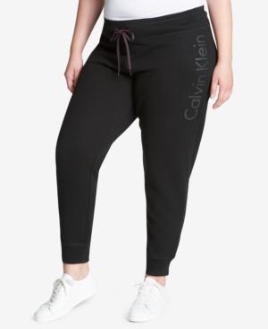 Calvin Klein Performance Plus Size Fleece Logo Joggers In Black