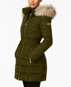 Laundry By Shelli Segal Faux-Fur-Trim Smocked Down Coat In Olive
