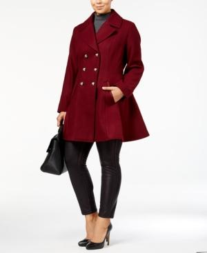 Laundry By Shelli Segal Plus Size Wool-Blend Skirted Peacoat, A Macy's Exclusive In Cabernet
