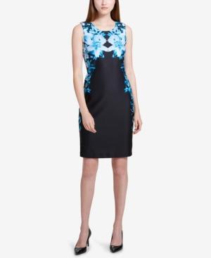 Calvin Klein Mirrored Floral Print Sheath Dress In Cypress/Black