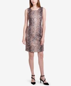 Calvin Klein Printed Sheath Dress In Black/Vicuna