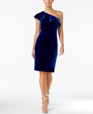Calvin Klein Velvet One-Shoulder Ruffle Dress In Sapphire