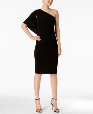 Calvin Klein Petite One-Shoulder Sheath Dress In Black
