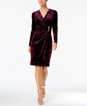 Calvin Klein Velvet Faux-Wrap Dress In Aubergine
