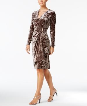 Calvin Klein Velvet Faux-Wrap Dress In Taupe