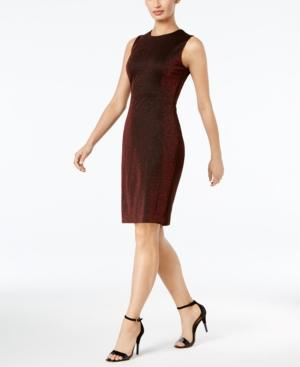 Calvin Klein Sparkle Sheath Dress, A Macy's Exclusive Style In Red