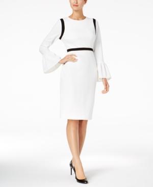 Calvin Klein Colorblocked Bell-Sleeve Sheath Dress In Cream/Black