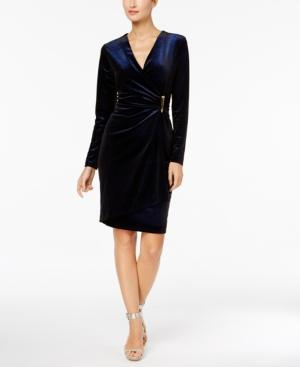 Calvin Klein Sparkle Velvet Wrap Dress In Dark Blue