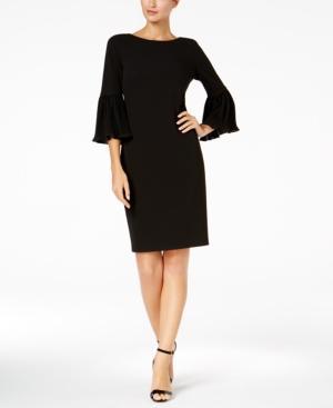 Calvin Klein Pleated Bell-Sleeve Dress In Black